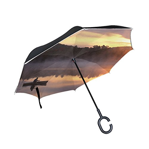 RH Studio Inverted Umbrella Boat Lake Person Fog Mountains Morning Large Double Layer Outdoor Rain Sun Car Reversible Umbrella by RH Studio