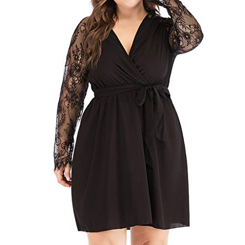 Transer- Plus Size V Neck Lace Dress S Chiffon Mesh Splicing High Waist Solid Mini Dresses