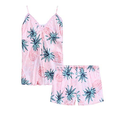 (Flexman Women's Silk Pajamas Sling Spaghetti Strap Tops+ Shorts Lace Sexy Lingerie Nightwear Underwear Short Sleepwear Set (Pink, M))