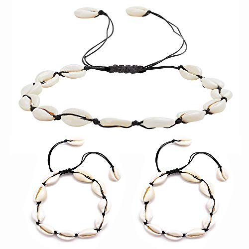 - COMMINY 3Pcs Natural Cowrie Shell Choker Necklace and Bracelet Set for Women Girls, Handmade Adjustable Seashell Necklace Anklets Boho Hawaii Beach Jewelry for Summer Vacation(Black Rope)