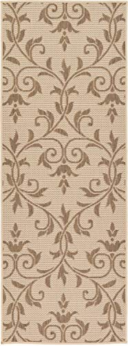 - Unique Loom Outdoor Botanical Collection Floral Vines Transitional Indoor and Outdoor Flatweave Beige  Runner Rug (2' 2 x 6' 0)