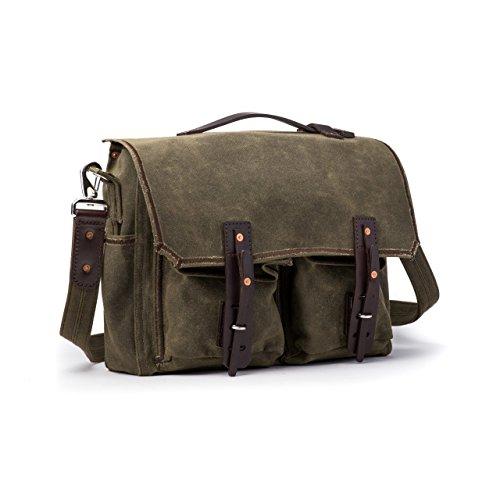 Saddleback Leather Canvas Front Pocket Gear Bag - Messenger Bag with 100 Year Warranty
