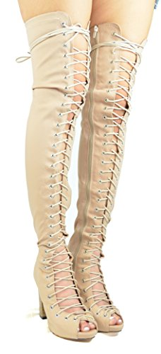 Boot Chloe Lycra Nude Benjamin Womens Toe Peep Up Lace Thigh amp; Heel Chase Chunky High 12 5OSwZxq