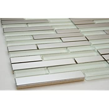 white glass tile silver stainless steel tile