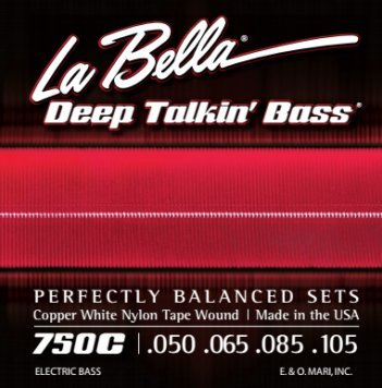 La Bella 750G Gold White Nylon Tapewound Bass Strings - Light (Strings Bass Gold)