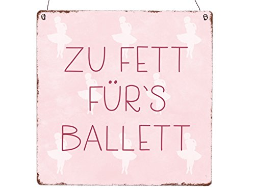 Xl Holzschild Zu Fett Fur S Ballett Frau Madchen Diat Motivation