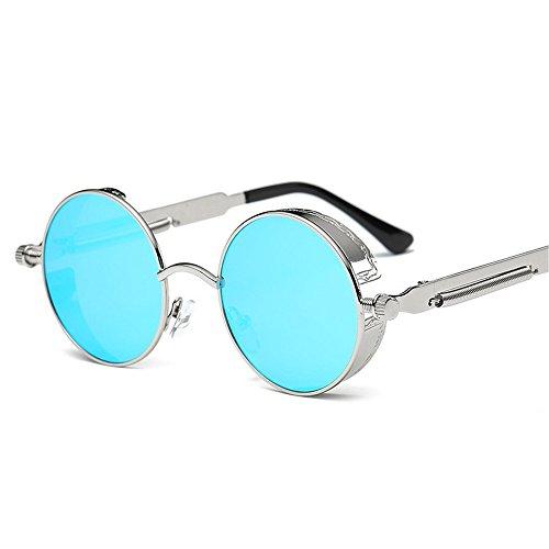 reflexivo Señora de de Sol J Pierna Gafas Redondo K Metal Espejo Actual Marco la Pierna de sol de de la Color RFVBNM Gafas Retro aqwHTT