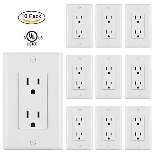 10 Pack  Bestten 15Amp 1875W Decor Receptacle Standard Decorative Electrical Outlet With Wall Plate  Ul Certified  White