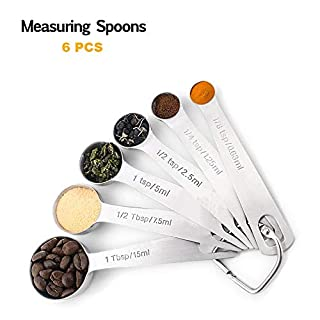 SCDA Measuring Spoons, Heavy Duty Stainless Steel Metal Measuring Spoons set of 6 for Measuring Dry and Liquid Ingredients (set of 6)