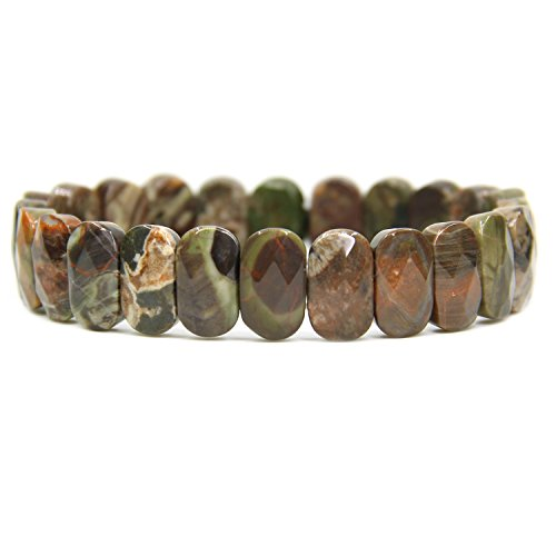 - Natural Blossom Agate Gemstone 14mm Faceted Oval Beads Stretch Bracelet 7