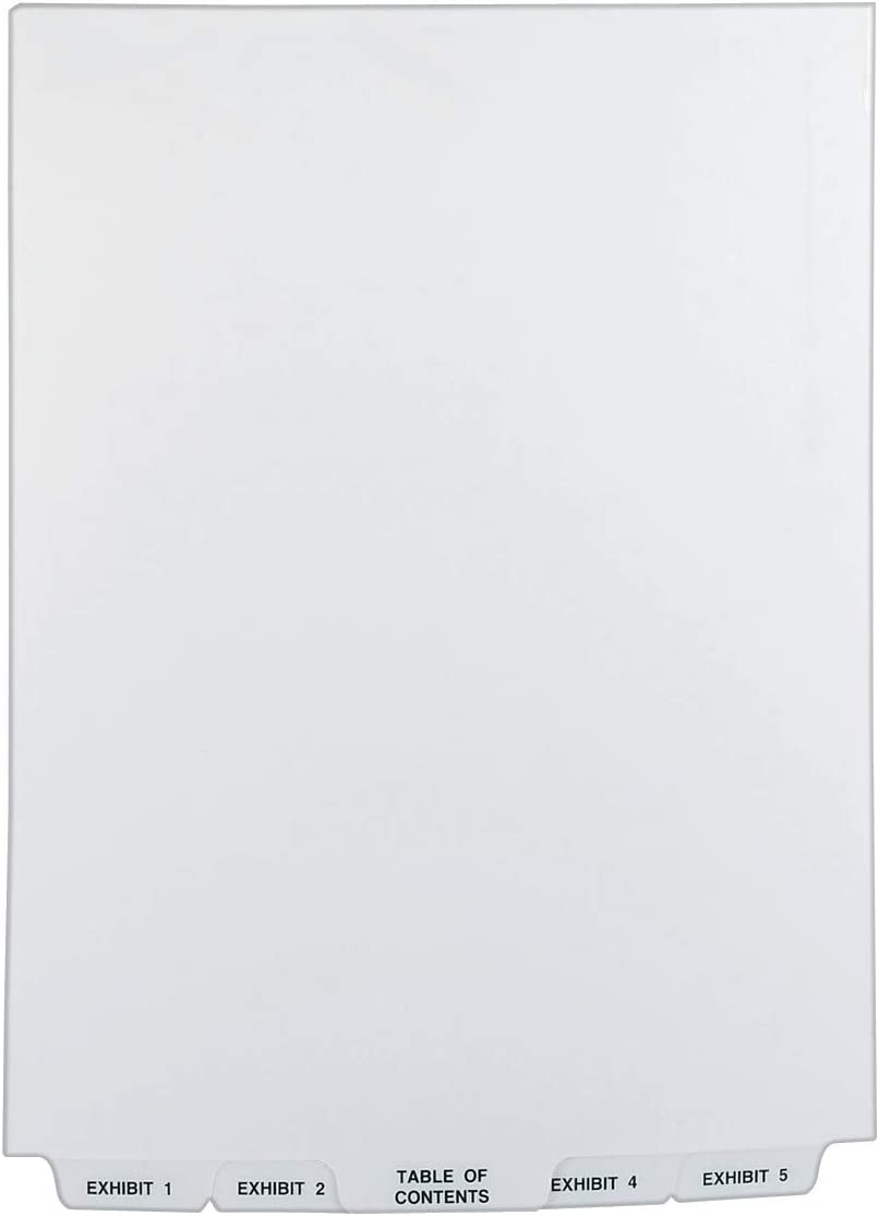 Avery Avery-Style Bottom Tab Dividers, 26-Tab, Legal Exhibit 1-25, 8.5 x11 Inches, White, 26 per Set (11378) : Binder Index Dividers : Office Products