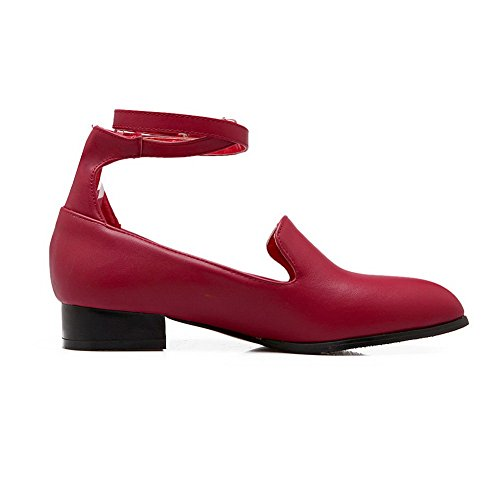 Mary Heels Jane Buckles BalaMasa Womens Toe Urethane Square Pointed Red Metal Flats xTInwqCZ8F