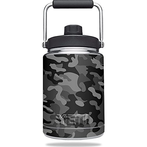 MightySkins Skin for YETI Rambler Half Gallon Jug - Black Camo Protective, Durable, and Unique Vinyl Decal wrap cover | Easy To Apply, Remove, and Change Styles | Made in the USA