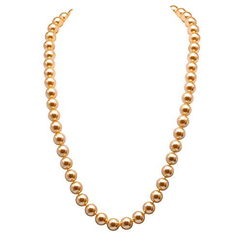 JYX Pearl Necklace AAA Luster 12mm Round Golden Seashell Pearl Necklace for Women 28