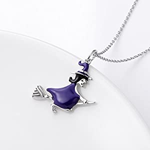 925 Sterling Silver Halloween Charm Jewelry Witch On Flying Broom Pendant Necklace for Women Teen Girls Birthday Gift, 18″