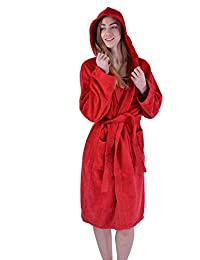 Womens 100% Egyption Cotton Luxury Gown Super Soft Hooded Plush Bathrobe