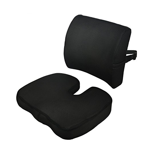 Memory Foam Seat Cushions for Car and Office Chair with Washable Cover (Black) by Orange Juice