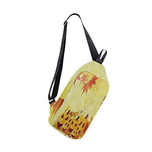 Sling Bag Halloween Pumpkin Autumn Maple Leaves Mens Chest Shoulder Backpacks Crossbody Single Daypack -