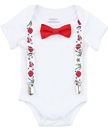 Noah's Boytique Baby Boy Rockabilly Punk Rock Tattoo Outfit Suspenders Red Bow Tie Set 6-12 Months ()