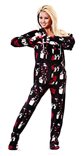 - KISS Do You Love Me Drop Seat Adult Onesie Pajamas (XS) Black