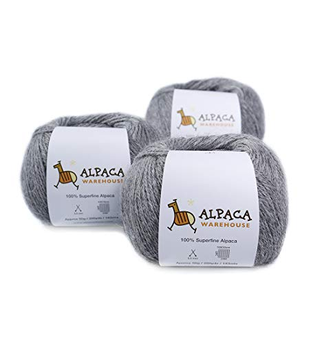100% Alpaca Yarn Wool Set of 3 Skeins Fingering Weight (Soft Gray)