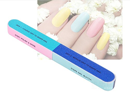 Nail Files & Nail Buffers Block - 7 Professional Steps - Buffing Polishing Shining Your Fingernail & Toenail Tool Kit Sets - 6 Packs For A Healthier Nicer Shiny Natural Nail For Women by Freshline