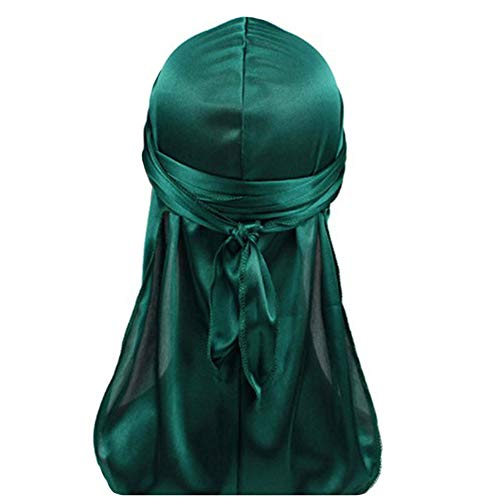 Durags and Bonnets a Set, Unisex Silky Durag and Women Bonnet Suit for Party and Sports Green Headwrap (Green)