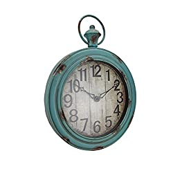 Large Weathered Finish Round Pocket Watch Style Wall Clock
