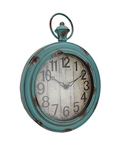 Weathered Blue Finish - Metal Wall Clocks Large Weathered Finish Round Pocket Watch Style Wall Clock 16 X 21.5 X 3 Inches Blue