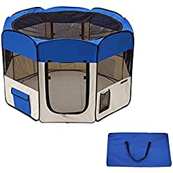 Blue Nylon Oxford Pet Playpen With Ebook