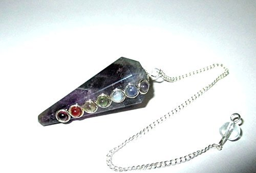 (Jet Amethyst Chakra Pendulum Faceted Cone Shaped Top Quality A++ Jet International Crystal Therapy)