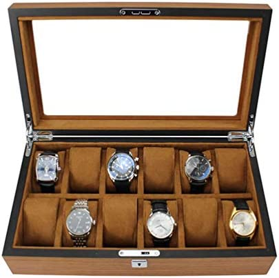 MENG-DuDu 腕時計収納ボックス メンズ レディース 12個収納 ソフト枕 リストロック可能 大型腕時計 ジュエリー ブレスレット ディスプレイ コレクション トラベルケース ブラウン