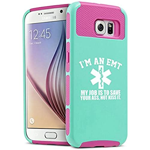 Samsung Galaxy S7 Shockproof Impact Hard Soft Case Cover EMT My Job Is To Save You (Teal-Hot Pink) Sales