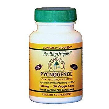 Healthy Origins Pycnogenol - 100 mg - 120 Vegetarian Capsules (30 Capsules) by Healthy Origins