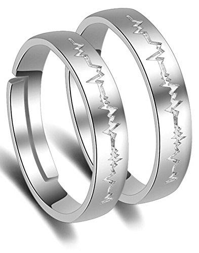 Karatcart Platinum Plated Elegant Couple Adjustable Band Ring For Men & Women