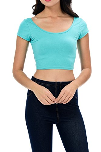 Auliné Collection Womens Trendy Solid Color Basic Scooped Neck and Back Crop Top Mint Small ()