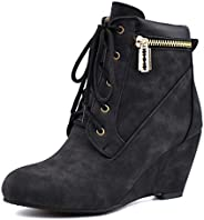 MUNDERA Women Winter Wedge Boots Faux Suede Lace Up Warm Slip On Fashion Zip-Up High Heel Ankle Booties