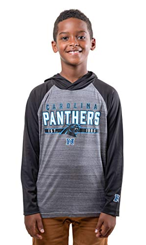 NFL Carolina Panthers Boys Moisture Wicking Athletic Performance Pullover Sweatshirt Hoodie, Black, 14-16