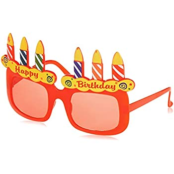 OULII Happy Birthday Sunglasses Sweet Cream Cake Glasses Costume Glasses Props Funny Novelty for Birthday Party Favors K5nVTyBM