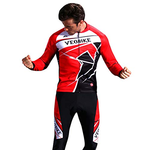(EoCot Mens Summer Ourdoor Sportswear Cycling Suits Long Sleeve Jerseys with Padded Hong XL)