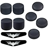 Pack of 8 pcs Silicone Thumb Stick Grips Cap Cover Pack of 2 Light Bar Decal Stickers, Anti-Slip Silicone Gel Cap for Joystick for PS4 Controllers (not for Xbox One Controller)