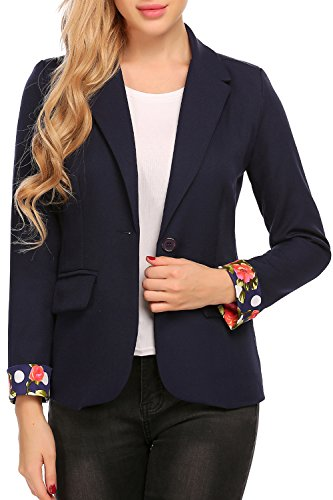 Wear Navy Blazer (ELESOL Women Casual Rolled Up Sleeve Work Office Blazer Claasic One Button Solid Color Jacket Navy Blue XL)