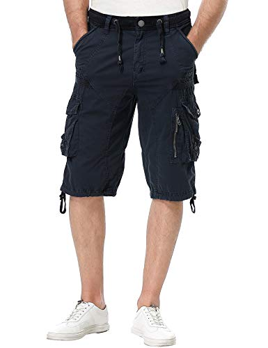 TWO BLOCKS OFF Cargo Shorts for Mens, Rib Waist/Multi Pocket,Leg Straight & Loose Fit Navy Size 34 ()