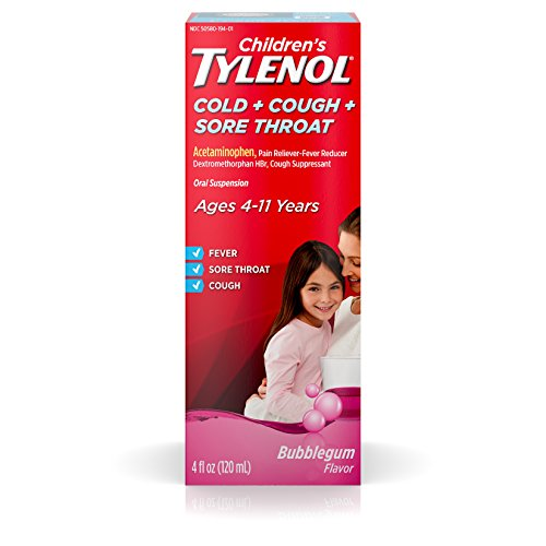 Children's Tylenol Cold, Cough, And Sore Throat Medicine, Bubblegum, 4 Fl. Oz (Sore Throat Cough Medicine Best)