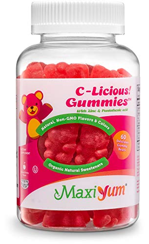 Maxi-Health C-Licious! Vitamin C Gummies for Kids and Adults (60 Gummy Bears) Soft Daily Chewable | Organic Natural Sweeteners | Cherry Flavor | Non-GMO, Certified Kosher