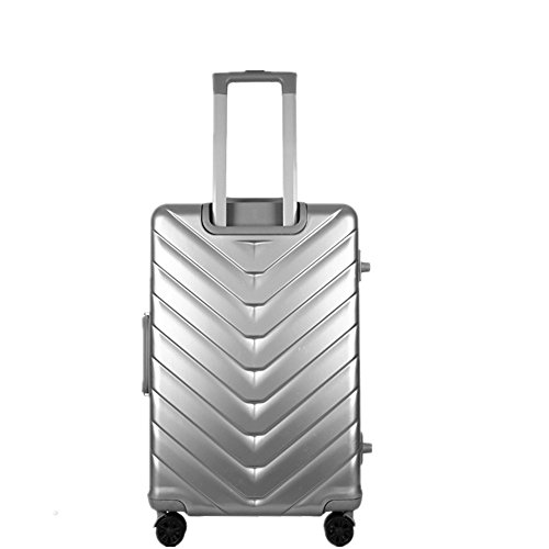 (Gohbqany Travel Luggage Trolley Cases PC Aluminum Frame Box Luggage Lock Business Password Box Pull Rod Box 20 Inch Boarding Box (Color : Silver))