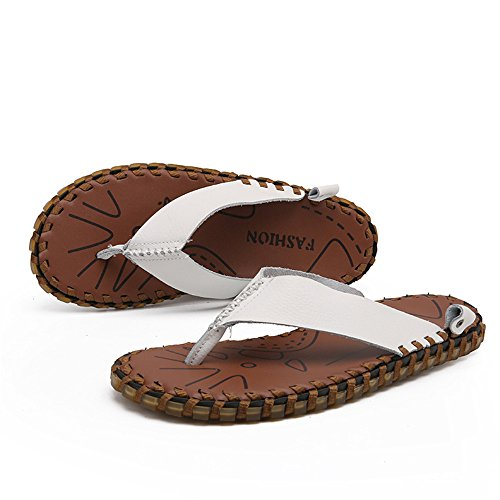 CNBEAU Beach Flops Men's Soft Shoes Non Genuine White and Sandals Flat Slippers Thong Leather Outdoor Indoor Slip Flip Casual RS4RqAxr