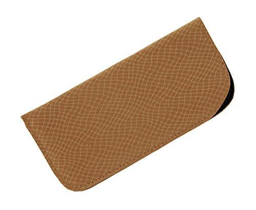 Soft Slip In Eyeglass Case For Women And Men - Faux Snake Skin Pattern in Brown