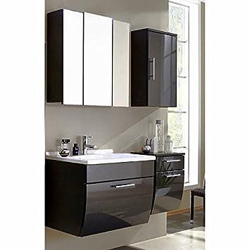komplett badezimmermobel set hochglanz anthrazit waschtisch spiegelschrank unterschrank hangeschrank b x h x t 130
