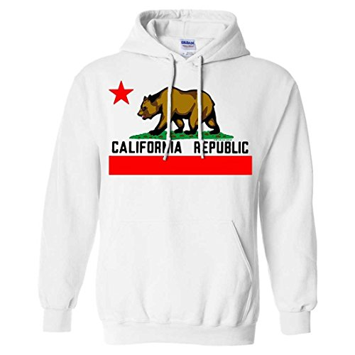 Dolphin Shirt Co California Republic Borderless Bear Flag Black Text Sweatshirt Hoodie - White Medium